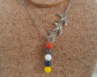 Divergent Inspired Four and Tris Tatttoo Neckace Insurgent Alligient Inspired Faction Colors Necklace 18''