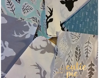 Art Gallery - Quilting squares , Hello Bear fabric, Deer, elk, buck, arrows, woodland fabric, Pre cut squares, Baby quilt. Buck forest