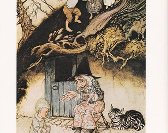 Mother Goose Nursery Rhyme fine art print Arthur Rackham vintage illustration home decor 8.5x11.5 inches