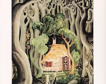 Hansel and Gretel Kay Nielsen vintage art nouveau print illustration Brothers Grimm German folk tale fairy tale home decor 8.5x11.5 inches