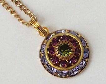 Tanzanite Crystal Necklace, Crystal Rhinestone Necklace, Vintage Crystal Necklace, Tanzanite Rhinestones Necklace, Pendant Necklace