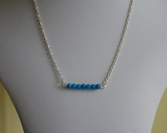 Blue 4mm quartzite beads pendant on  18inch silver plated chain