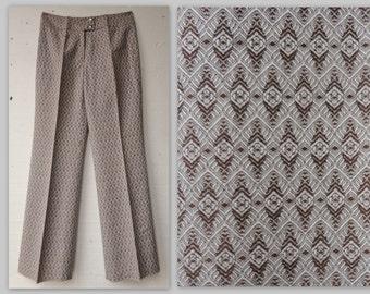 70s Deadstock Highwaisted Beige Vintage Flare Pants //  // Size S/M