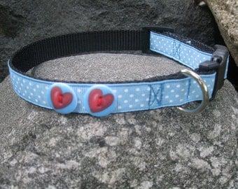 Blue Swiss Dot dog collar with Heart Buttons