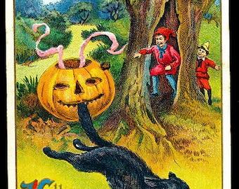 1914 Halloween Winsch JOL & Cat Postcard