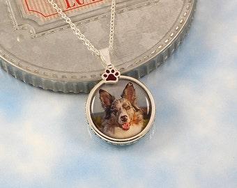 Custom Portrait Photo Pendant Necklace, paw print charm, custom photo charm, picture pendant, pet photo necklace, pet mom, dog agility