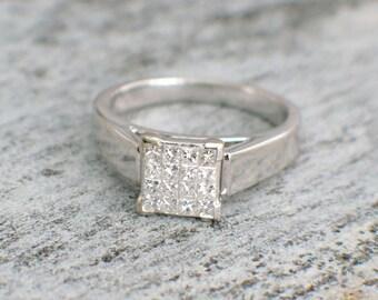 14K White Gold Ring with Princess Cut Diamonds