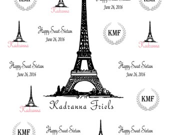 Sweet 16 Paris Theme. Eiffel Tower Theme Photobooth Backdrop, Sweet 15 Step and repeat backdrop, Photo Booth Backdrop, Birthday Backdrop