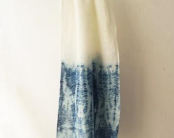 Natural Indigo Tie-dyed Handwoven Linen Scarf