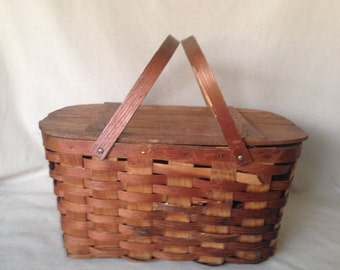 Vintage Woven Picnic Basket with Two Handles
