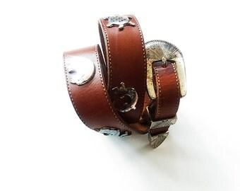 "Vintage Southwestern Spirit Animal Belt / Native American / Brown Leather / Zuni / Tribal / Silver Creek Belt / Women's Size XS / 26"" Waist"