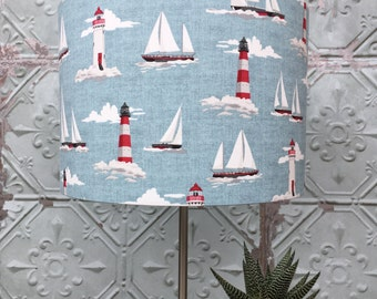 Sailing Boats On Blue  Fabric Covered Lampshade.35cm x 24 cm size.
