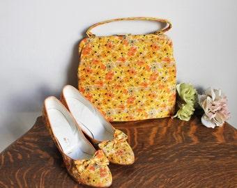 Vintage 1960s Floral Shoes and Purse Set / 60s Joyce California HandBag And Pretty Kitten Heels / Silk Pumps / Silk Hand Bag / Bows
