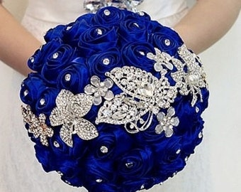 Blue Bridal Bouquet - Roses Pearls Crystals