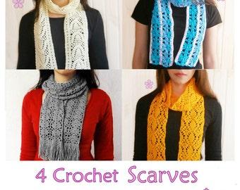 1 pattern FREE. 4 Lacy long scarves crochet patterns _ PLS1