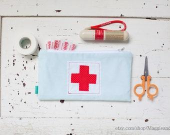 First Aid Pouch, Medical Bag, First Aid Zipper Pouch, Boo Boo Bag, Red Cross Pouch, Epipen Pouch, Pale Blue Zipper Bag