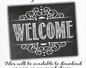 Welcome Chalkboard Sign - Digital Chalkboard Sign - Instant Download - Printable Chalkboard