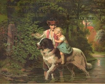 Victorian trade cards children with dog basket eggs download