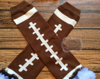 Football Leg Warmers with Matching Headband Superbowl Football Newborn Photo Prop Baby Shower Gift