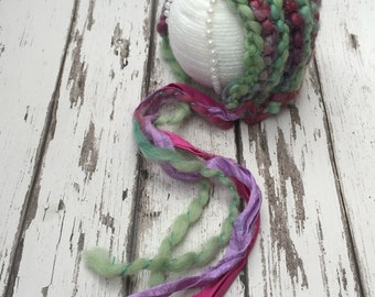 Newborn Photography Prop  Pixie Bonnet Sari Silk Ties Unique Hand Spun Yarn Lilac Green Purple Pink Hat knitted