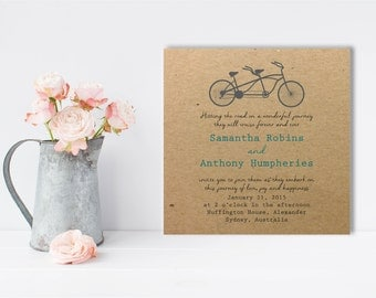 Vintage Bicycle, Wedding Invitation, Scripted Font, Outdoor Wedding, Kraft Invitation, Vintage Wedding, Rustic Wedding, Printable Invite