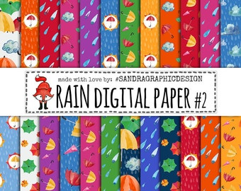 Rain digital paper, rain pattern, rain background, colorful digital paper (1270)