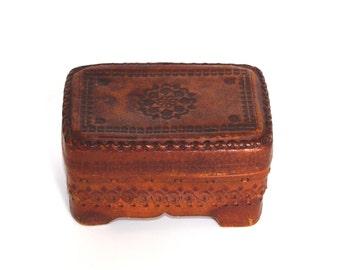 Vintage Leather Jewelry Box, Ornament wood box, Trinket Box, Hand Tooled Handmade Box hand carved box Bohemian decor Polish box 70s Folk box