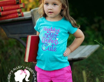 ANY GRADE!  - Headstart never looked so cute - Girls Embroidered Shirt & Matching Hair Bow Set for Back to School