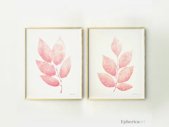 Pastel Wall Prints Teen Girls Room Decor Pink Leaves Print - Light pink nursery decor