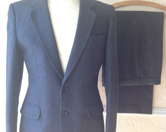 Vintage 50s wool pinstripe suit, retro mad men style, navy blue tailored, single breasted, swing