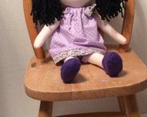 "NEW*Handmade Girl Cloth Doll 16"" Jenna Plush Softie Rag Doll With Purple Pillow Case Dress Black yarn Hair"