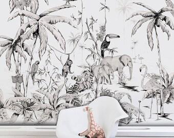 Wallpaper JUNGLE - black & white - Unique design - premium quality