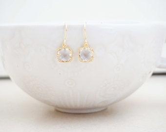 Clear Crystal Gem and Gold Earrings | Bridesmaid Earrings | Wedding Earrings