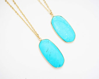 Turquoise and Gold Pendant Necklace