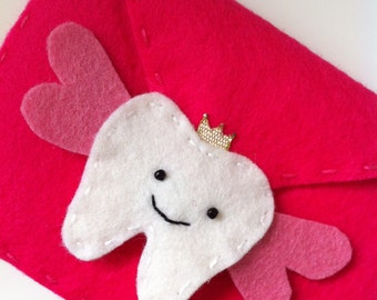 Hand Stitched Tooth Fairy Bag in Pink