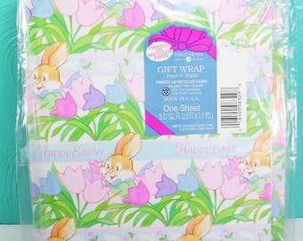 1 Sheet of Vintage Easter Wrapping Paper, Bunny and Flower Gift Wrap, American Greetings Wrapping Paper