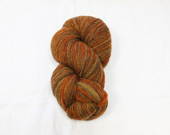 Wool yarn Hand dyed 1ply Art yarn Lace 100% Latvian wool yarn 6/1 Self striping orange,beige, light brown shades