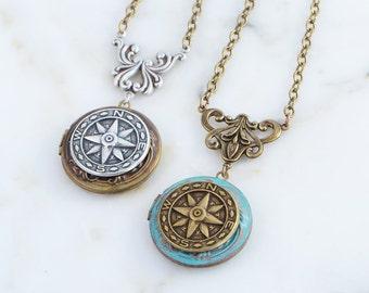 Compass necklace, Compass Jewelry, Photo Locket Necklace, Compass Locket, Compass Jewelry Gift, Locket Graduation Gift, Locket Necklace