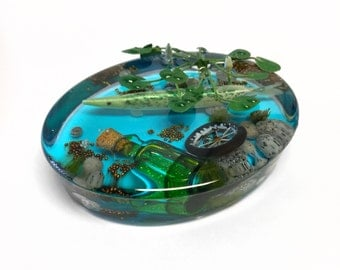 Diorama paperweight, Northern Pike paperweight, resin paperweight, desk art, fisherman gift, gift for him