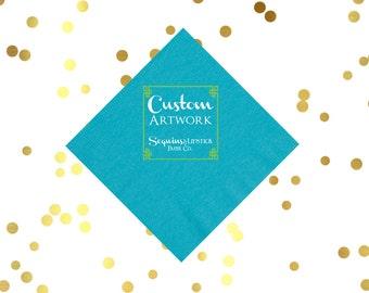 custom artwork cocktail napkins, party napkins, reception napkins, wedding napkins