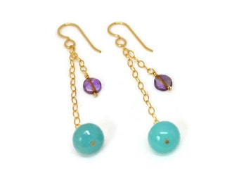 Aqua amazonite & light purple amethyst drop earrings