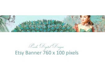 Etsy shop banner, Peacock Garden, instant download, blank file, aqua feathers, vintage theme, ribbon, lady