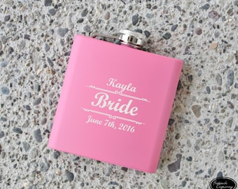 SHIPS FAST, Personalized Flask for Women, Bachelorette Party Gift, Bridesmaid Flasks, Pink Woman's Flask, Will You Be My Bridesmaid?
