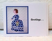 Note Card for Quilters, Vintage Quilted Lady in Blue Polka Dots and Bustle, Quilt Picture Blank Flat Greeting Note Card, Collect Them