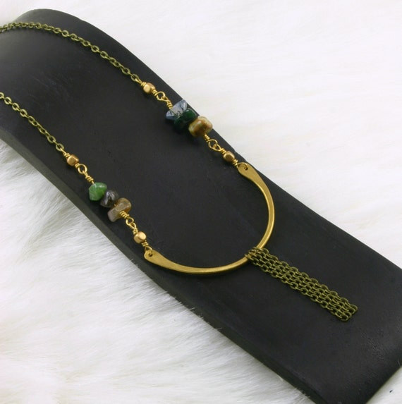 Crescent chain hand forged necklace green gemstone jewelry