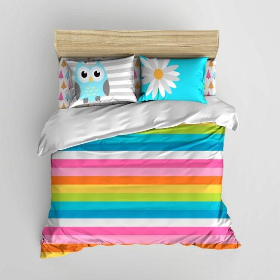 Rainbow Daisy Owl Bedding Personalized Rainbow Teen
