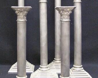 Set of SIX Godinger Silverplate Classic Corinthian Column Candlesticks
