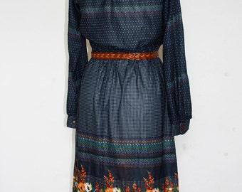 Floral Fancy Vintage Button up 70's era dress
