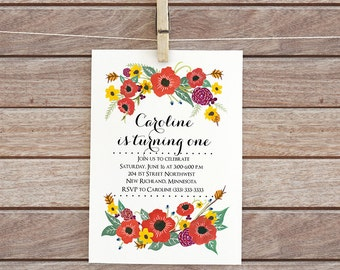 Baby girl invitation, Printable birthday invitation, Floral digital invite, Floral Kids DIY, Watercolor flowers invite, baby girl party 95