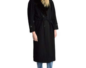 Black Wool Robe Coat Mink Fur Collar Belted Overcoat Longline Coat 1970s Vintage Double Breasted Wrap Coat Classic Style M L